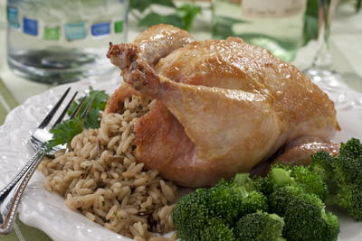 French Cornish Hens with Wild Rice