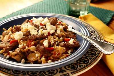 Greek Beef and Mushroom Orzo
