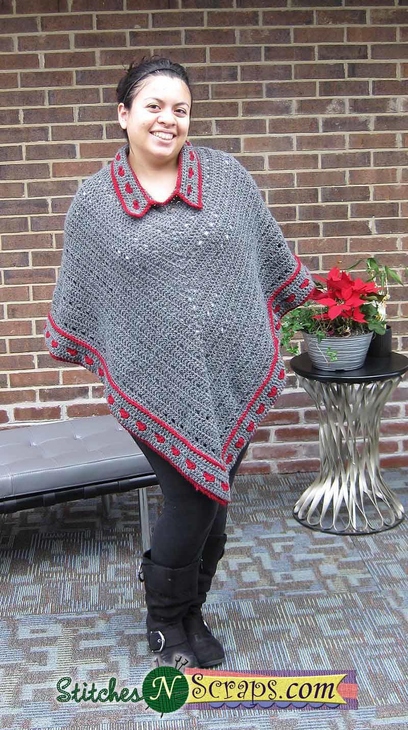 collared crochet poncho allfreecrochetcom
