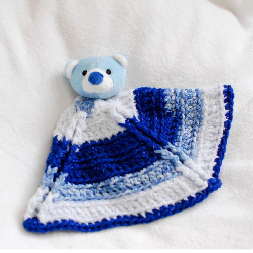 Free Crochet Pattern For Animal Security Blanket : Teddy Bear Security Blanket AllFreeCrochet.com