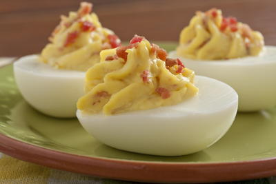 Horseradish Bacon Deviled Eggs