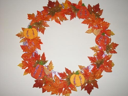 Glitter Leaves and Felt Pumpkin Wreath