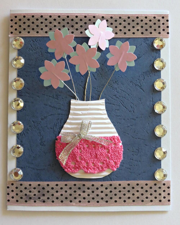 3d Flower Vase Birthday Card Allfreepapercrafts Com