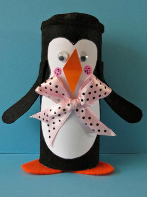 Winter Penguin Toilet Paper Roll Craft