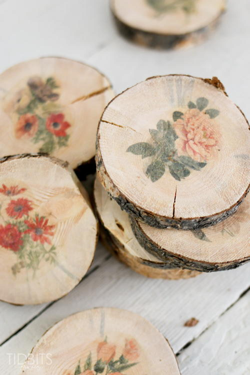 Blooming Botanical Wood Slice Coasters