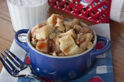 Microwave PBJ Bread Pudding