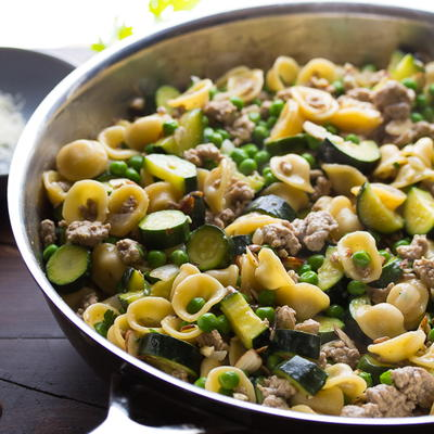 One Pan Orecchiette with Ground Turkey, Zucchini and Peas