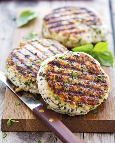 Juicy Green Turkey Burgers