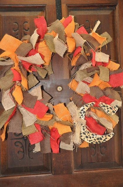 Autumn Burlap Tie Wreath