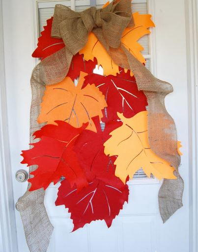 Falling leaves door decoration for Autumn leaf decoration