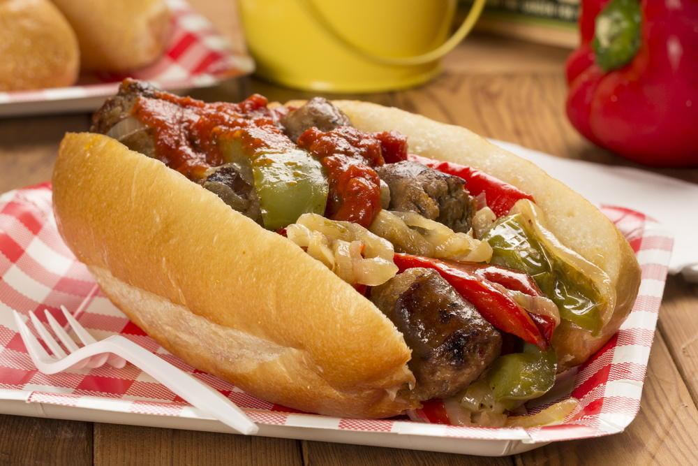 Sausage pepper and onion sandwich for Prime fish and hoagie