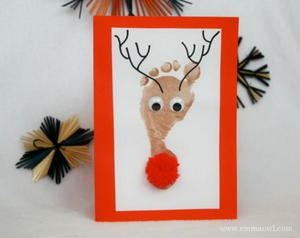 Footprint Reindeer Homemade Christmas Card