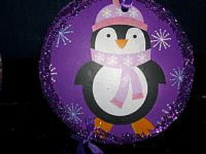 Purple Penguin Christmas Ornaments