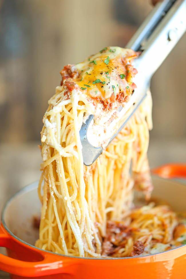 Baked Cream Cheese Spaghetti Allfreecasserolerecipes Com