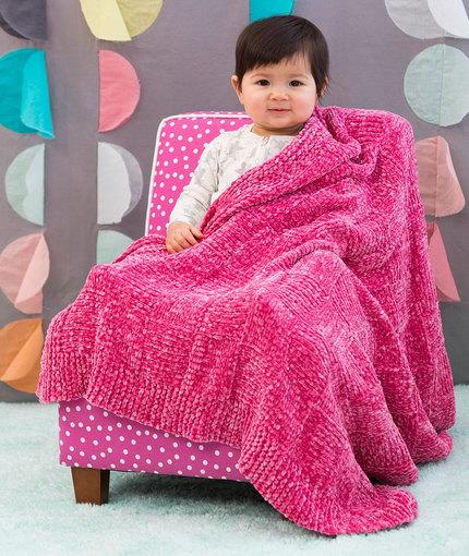Velvety Basketweave Baby Blanket AllFreeKnitting.com