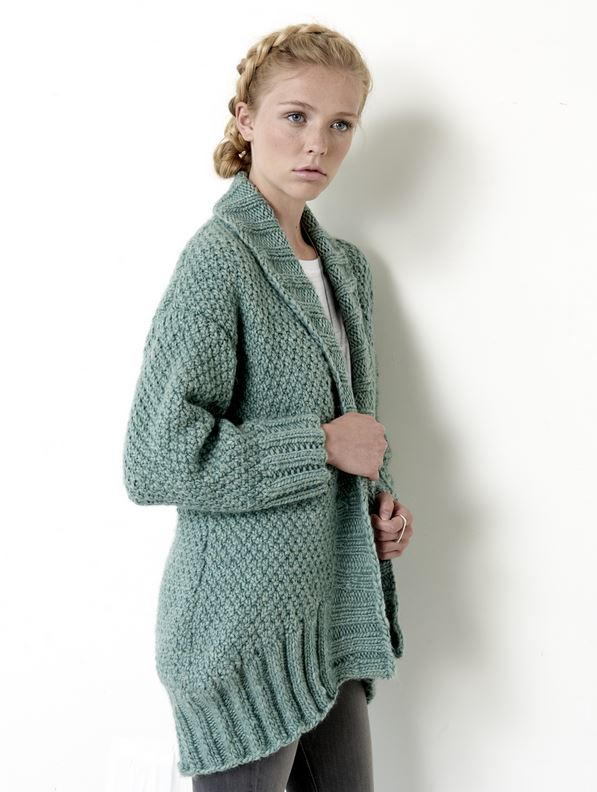Knitting Pattern Sweater With Collar : Cocoon Cardigan AllFreeKnitting.com