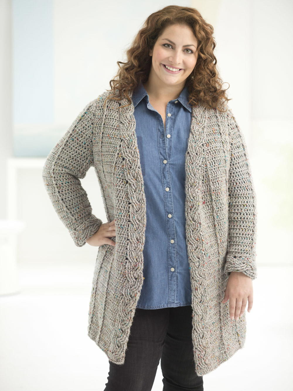 Knitting Patterns For Plus Size Sweaters : Curvy Girl Cable Crochet Cardigan AllFreeCrochet.com