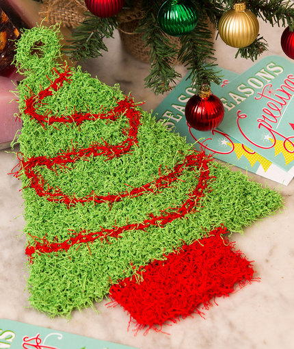 Christmas Tree Knit Scrubby AllFreeKnitting.com