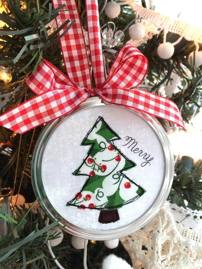 Jar Lid Applique Ornaments Allfreechristmascrafts Com