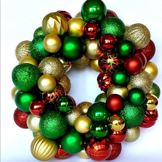 Dollar Store Christmas Ornament Wreath | FaveCrafts.com