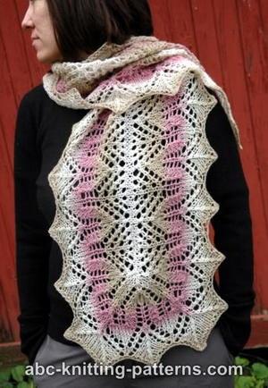 Rose Lace Knitting Pattern Free : Arrowhead Lace Scarf AllFreeKnitting.com