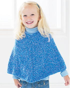 Knitting Pattern Cape Child : Easy Kids Knit Poncho FaveCrafts.com
