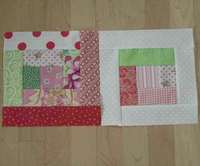 Scrappy Log Cabin Quilt Blocks