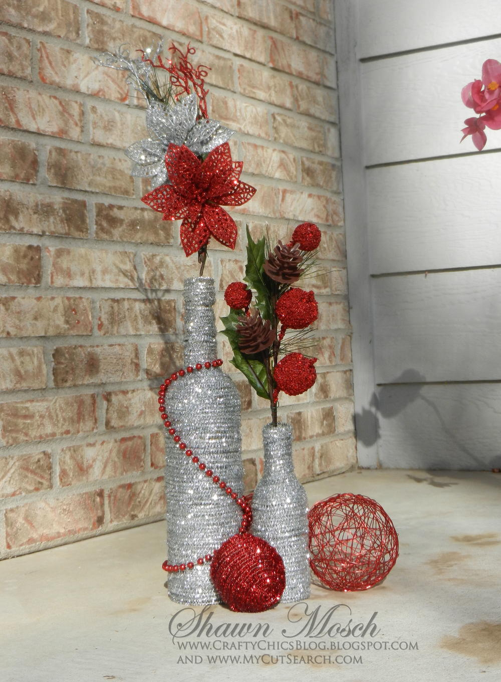 Wine bottle diy christmas decor for Christmas bottle decorations