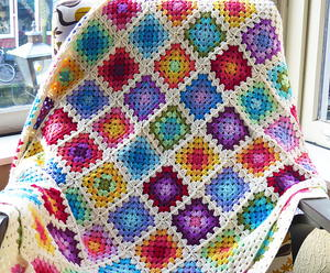 Colourful Granny Rainbow Crochet Baby Blanket