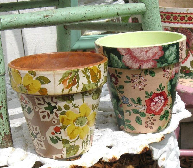 Wallpaper decoupage flower pots for Big pot painting designs