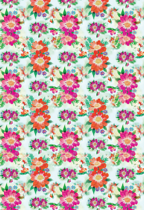 bright blooms printable wrapping paper 無料印刷素材 お洒落
