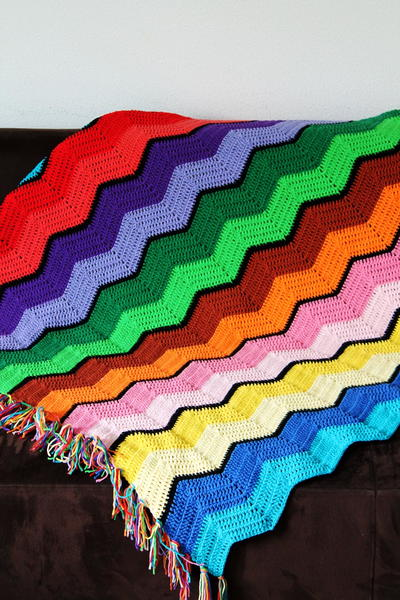Retro Ripple Crochet Afghan Pattern FaveCrafts.com