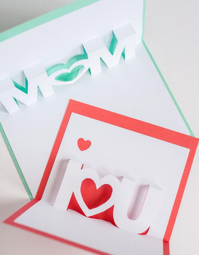I Love You And Mom Pop Up Cards Allfreepapercrafts Com