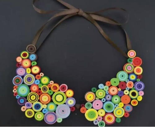 Boho fun quilled diy statement necklace - Paper quilling ideas for kids ...