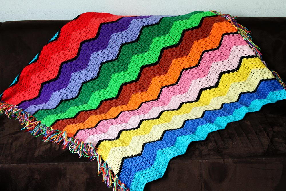 Retro Rainbow Ripple Crochet Afghan