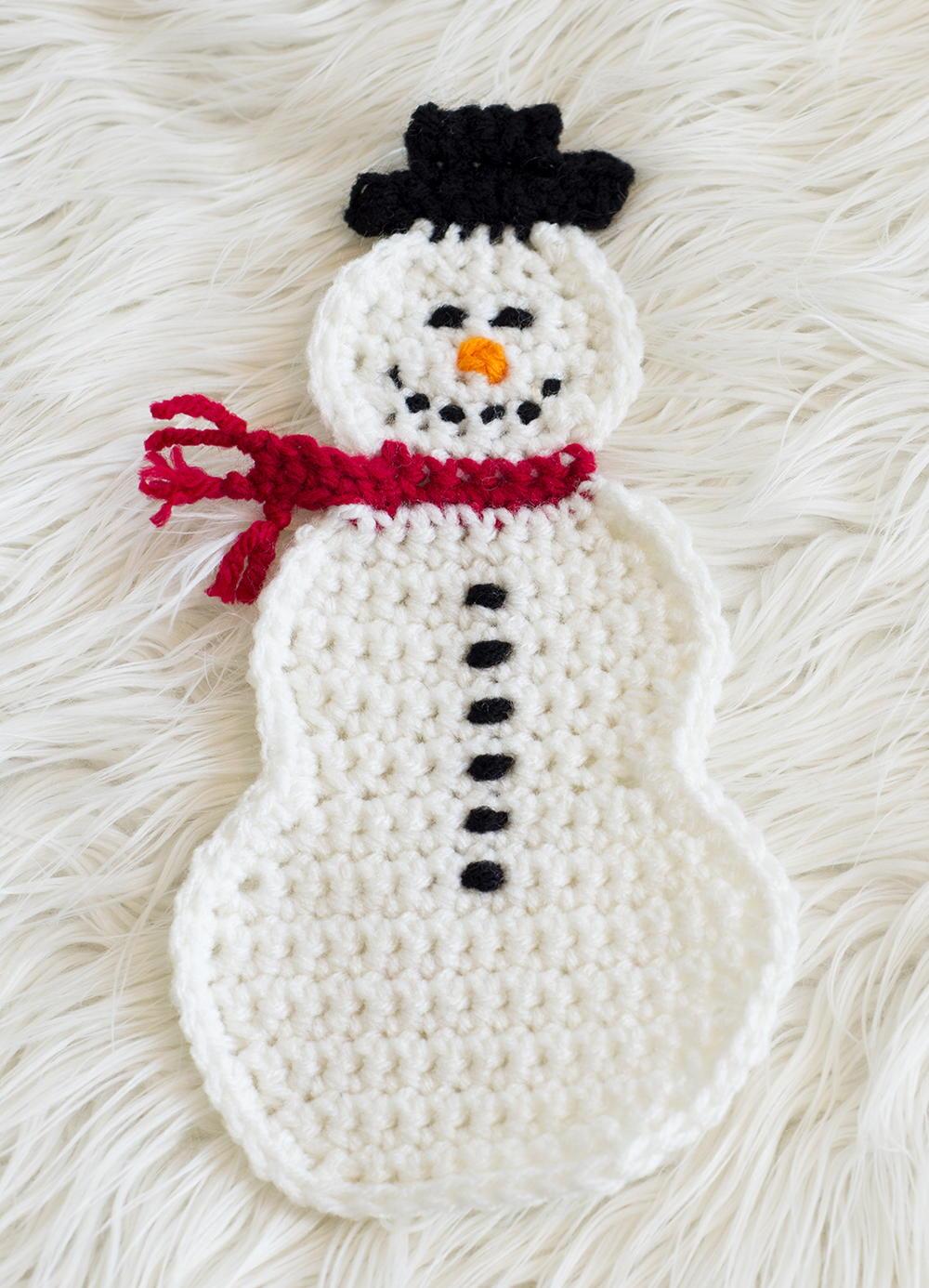 Snowman Pot Holder AllFreeCrochet.com