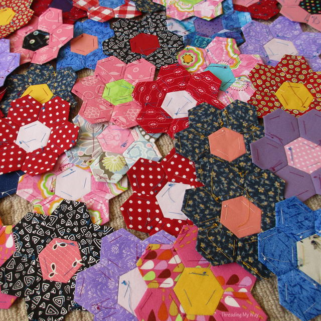 How To Sew English Paper Pieced Hexagons Together
