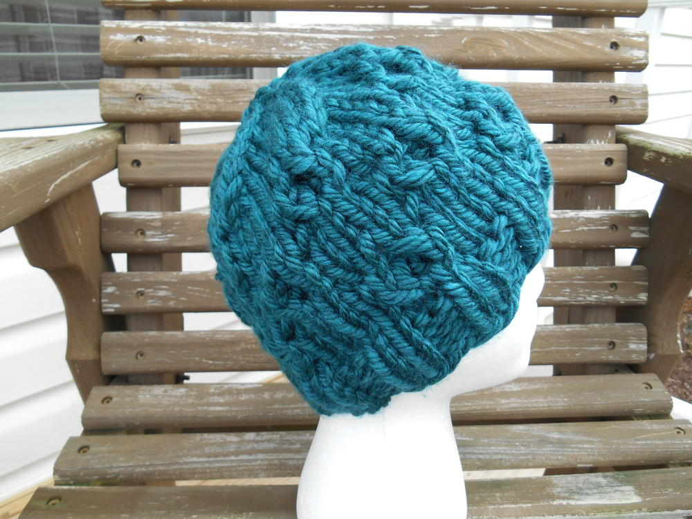 Super Bulky Whirls of Hope Hat AllFreeKnitting.com