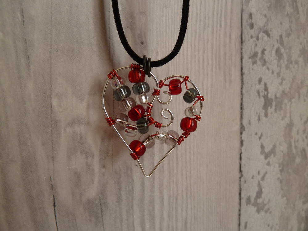 precious beaded heart wire pendant