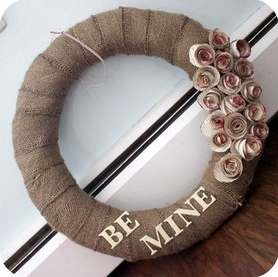 Be Mine Burlap Wreath