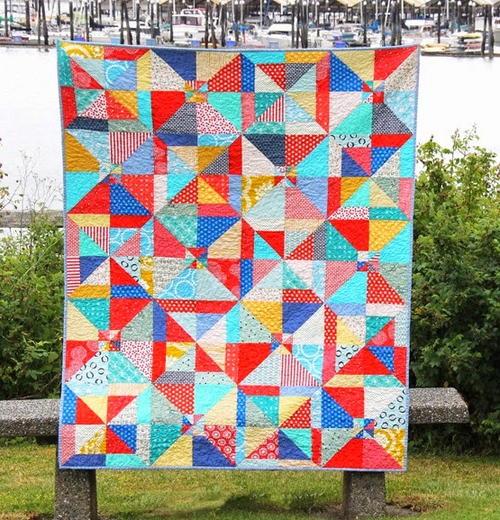 Super Easy Beginner Quilt Patterns : Super Easy Summer Slice Quilt Pattern FaveQuilts.com