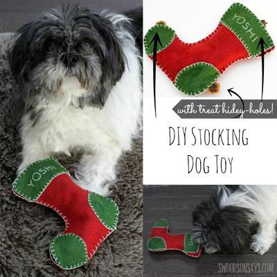 Felt Christmas Stocking Dog Toy AllFreeSewing.com