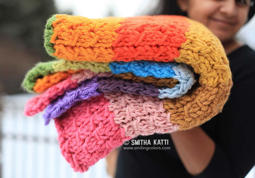 Rainbow Knit Blanket Pattern | AllFreeKnitting.com