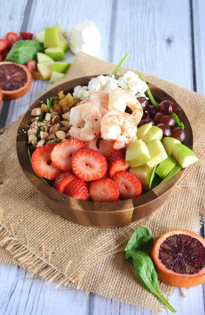 Strawberry Almond Shrimp Salad