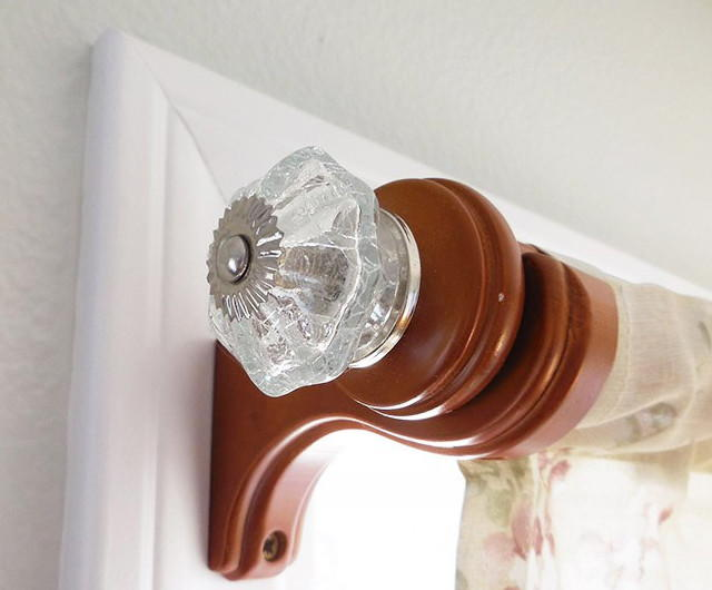 how to makeover your curtain rods using drawer pulls