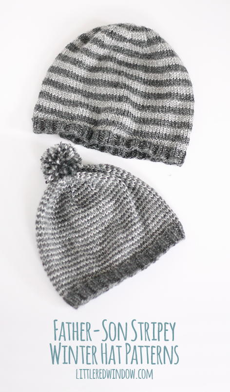 Knitting Patterns For Winter Hats : Daddy and Me Striped Winter Hats AllFreeKnitting.com