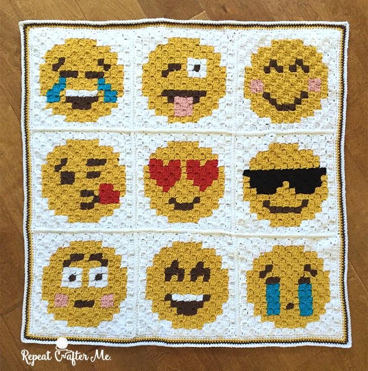 Crochet Pattern For Large Afghan : Emoji Crochet Afghan Pattern AllFreeCrochet.com