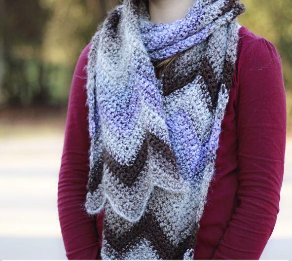 Crochet Scarf With Chevron Pattern Allfreecrochet Com