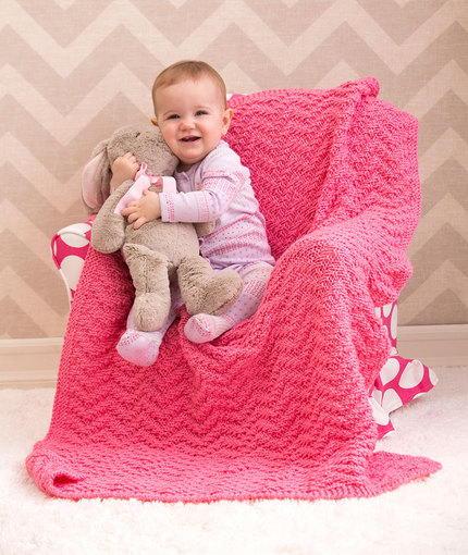 Watermelon Chevron Baby Blanket | AllFreeKnitting.com