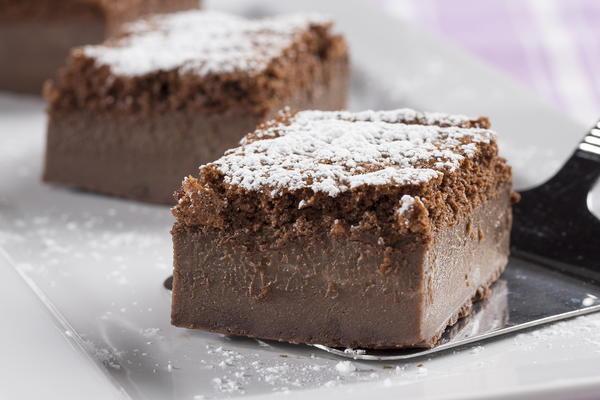Cake With Chocolate Custard : Chocolate Custard Cake MrFood.com